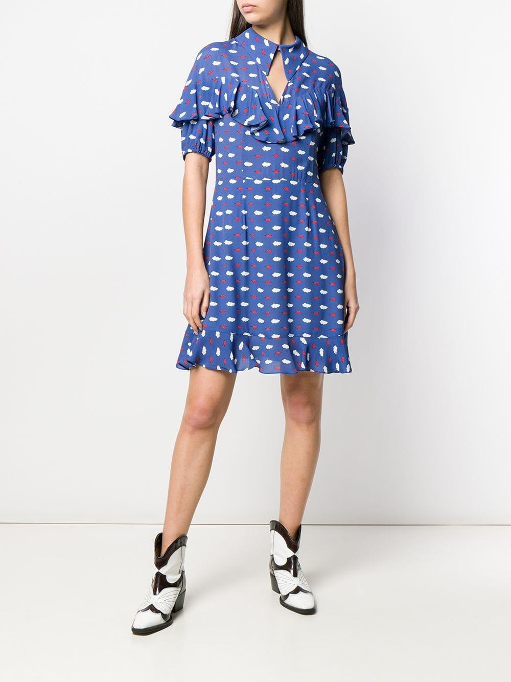 27696bdaa2f Vivetta Clouds And Lips Print Ruffle Dress in Blue - Lyst