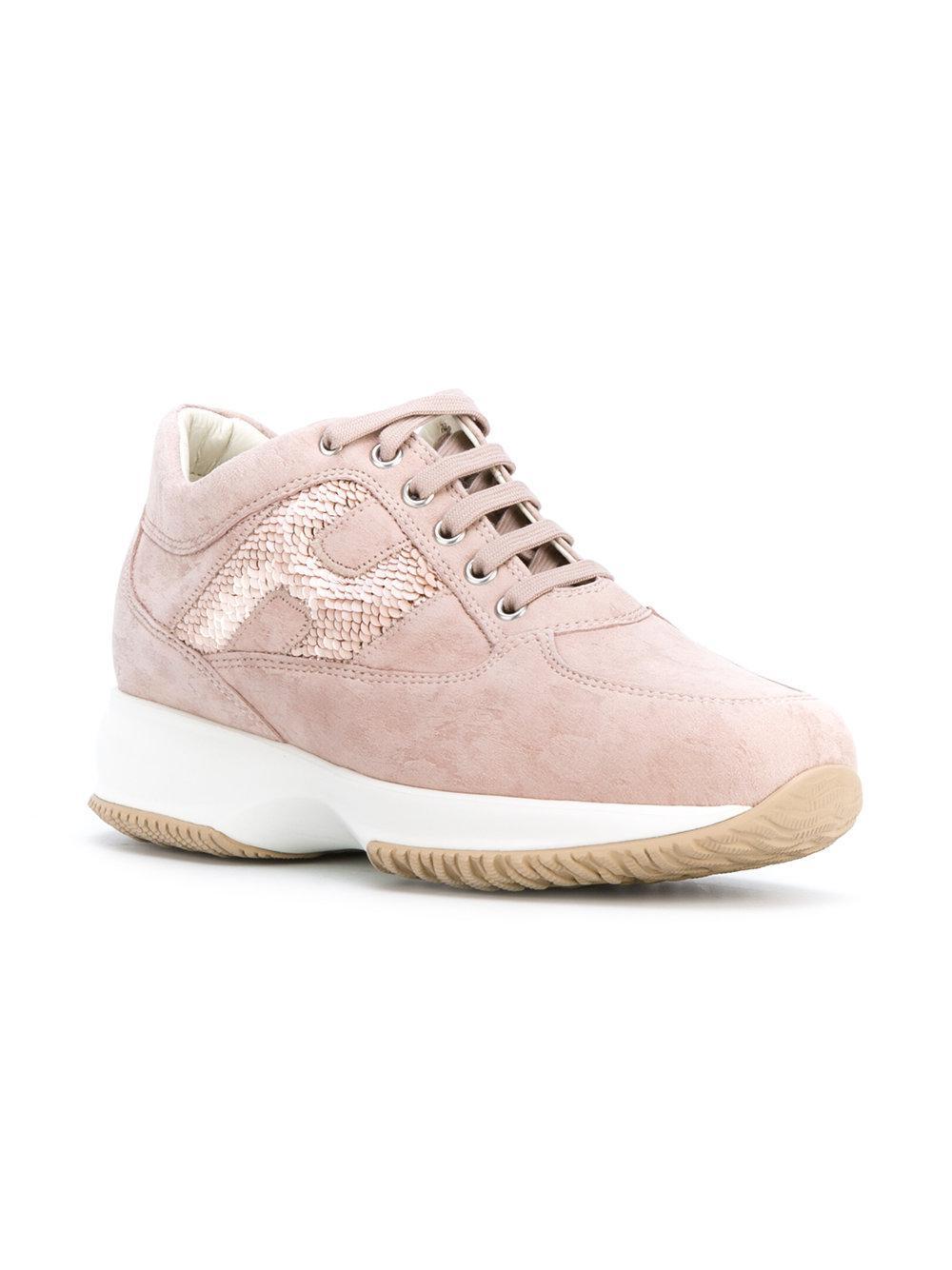 Hogan Chaussures De Sport Embelli De Paillettes - Rose Et Violet FAIG5