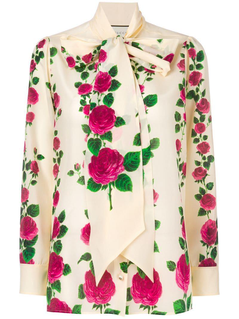 25764589c Gucci. Women's Rose Print Pussybow Blouse