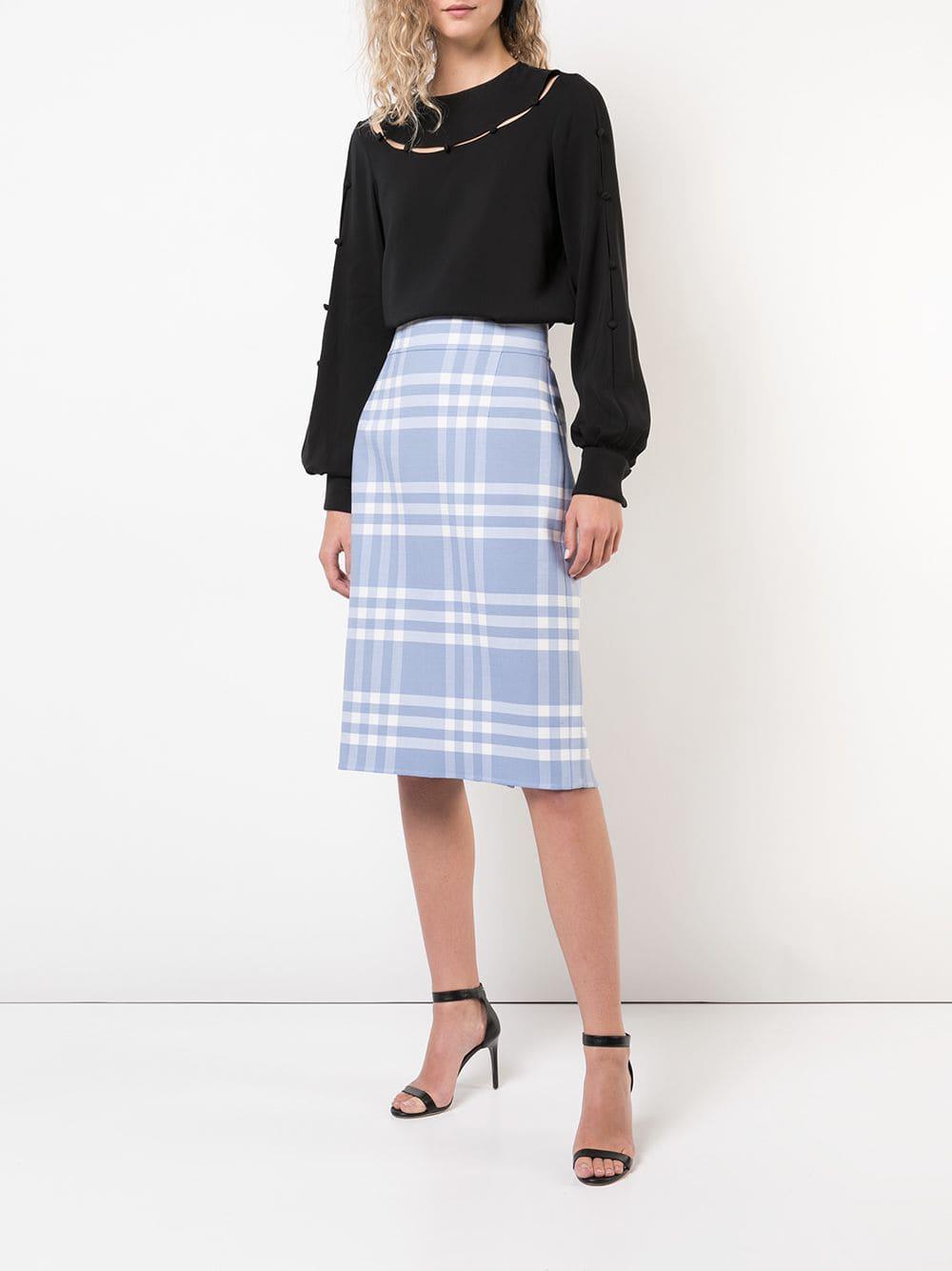 3594d103b Lyst - Oscar de la Renta Checked Pencil Skirt in Black