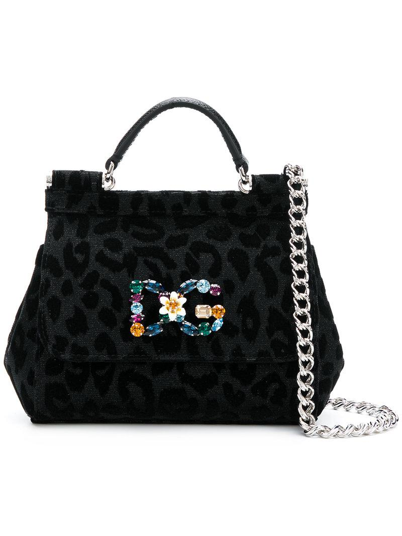 Lyst - Dolce   Gabbana Sicily Leopard Print Handbag in Black d8edb1f414708