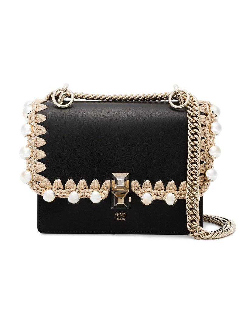 0fd57d975918 Lyst - Fendi Black Kan I Small Leather Bag With Crochet Trim in ...