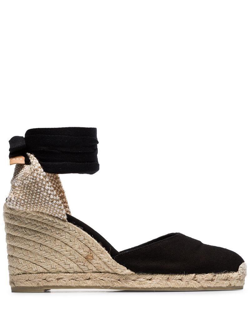 2ab0b9c4b02b Lyst - Castaner Black Carina 80 Ankle Tie Wedge Sandals in Black