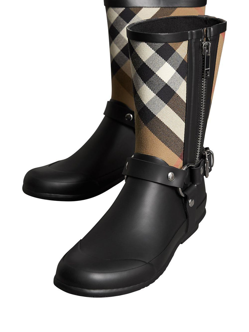 115cb61dd957 Lyst - Burberry Buckle And Strap Detail Check Rain Boots in Black - Save 8%