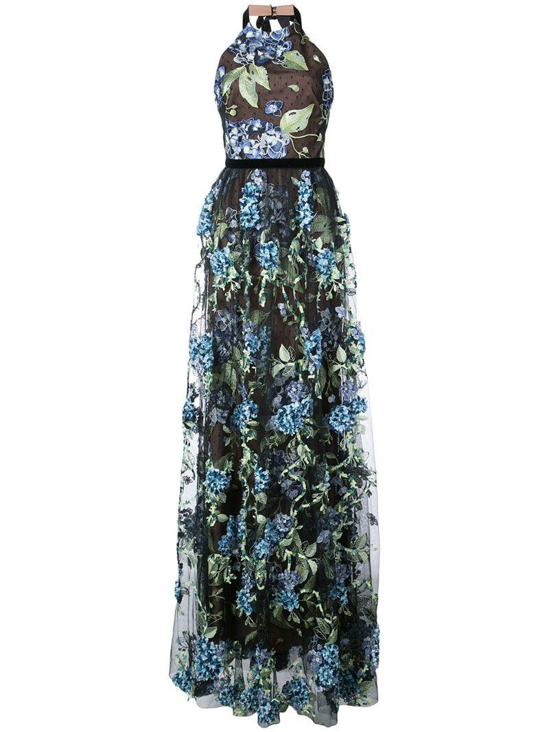 9e4076869a9d Marchesa notte Embroidered Hydrangea Gown in Black - Lyst