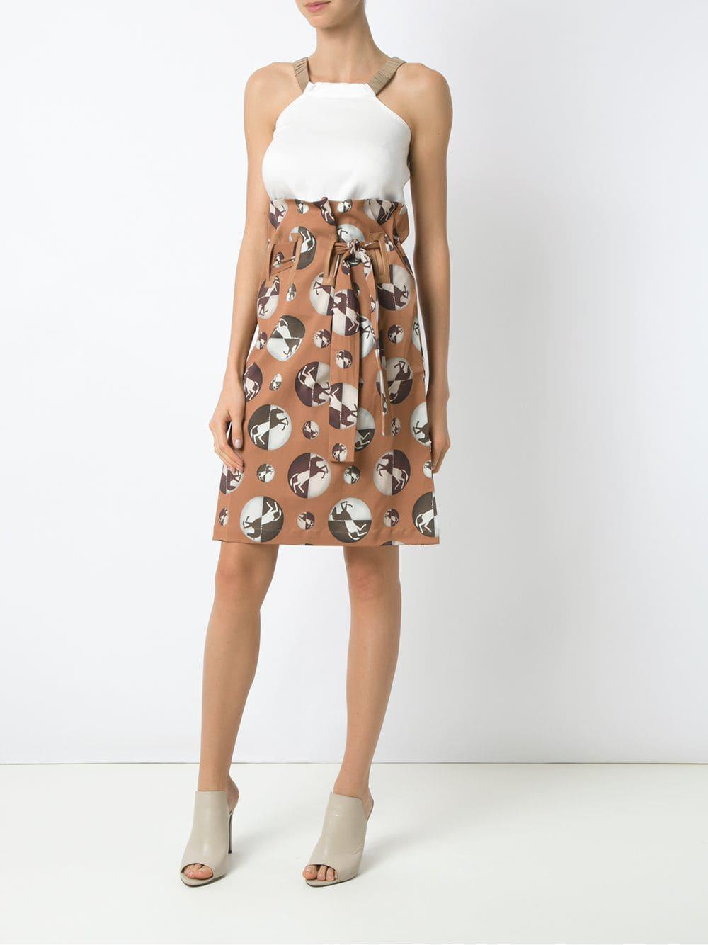 4437da7dad Lyst - Adriana Degreas High Waist Midi Skirt in Brown