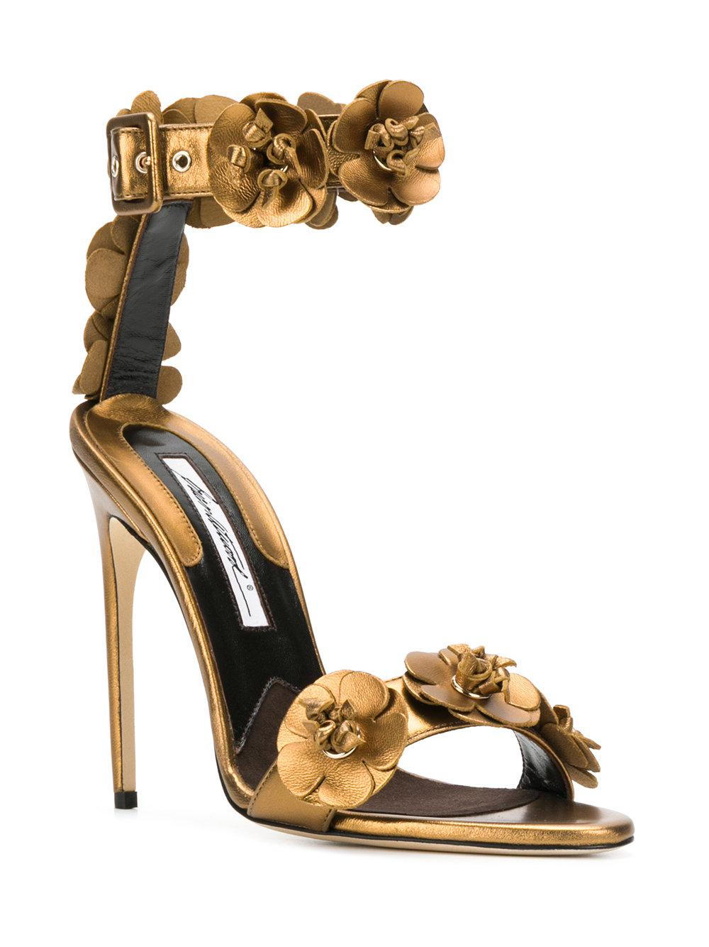 3a1ca3b52ee4d1 Brian Atwood 3d Flower Detail Sandals in Brown - Lyst