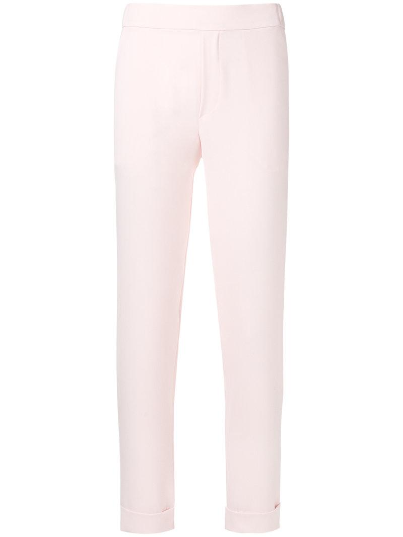 Outlet Buy embroidered slim fit trousers - White P.A.R.O.S.H. Exclusive Cheap Online Choice Online Free Shipping Deals zXrWfaq