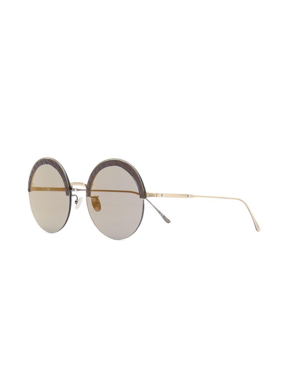 3c3a6c9f99fb Bottega Veneta Round Frame Sunglasses in Black - Lyst