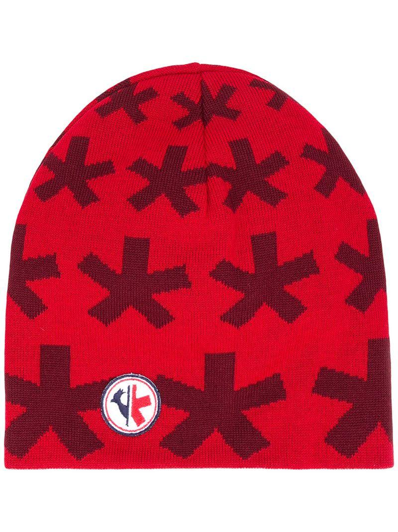Rossignol - Red Intarsia Knit Logo Beanie for Men - Lyst. View fullscreen c286a95028ef
