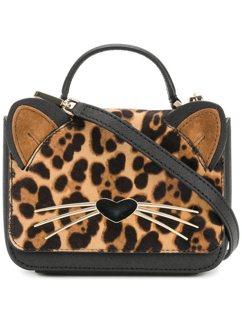 Lyst - Kate Spade Leopard Print Cat Mini Bag in Black 71983d88c7