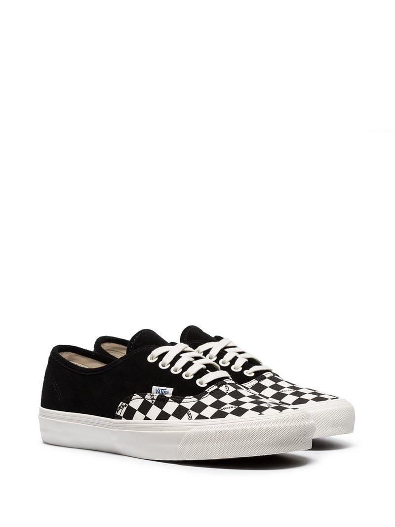 59ce5f24bf6 Lyst - Vans Black Og Authentic Check Print Suede Low-top Sneakers in ...