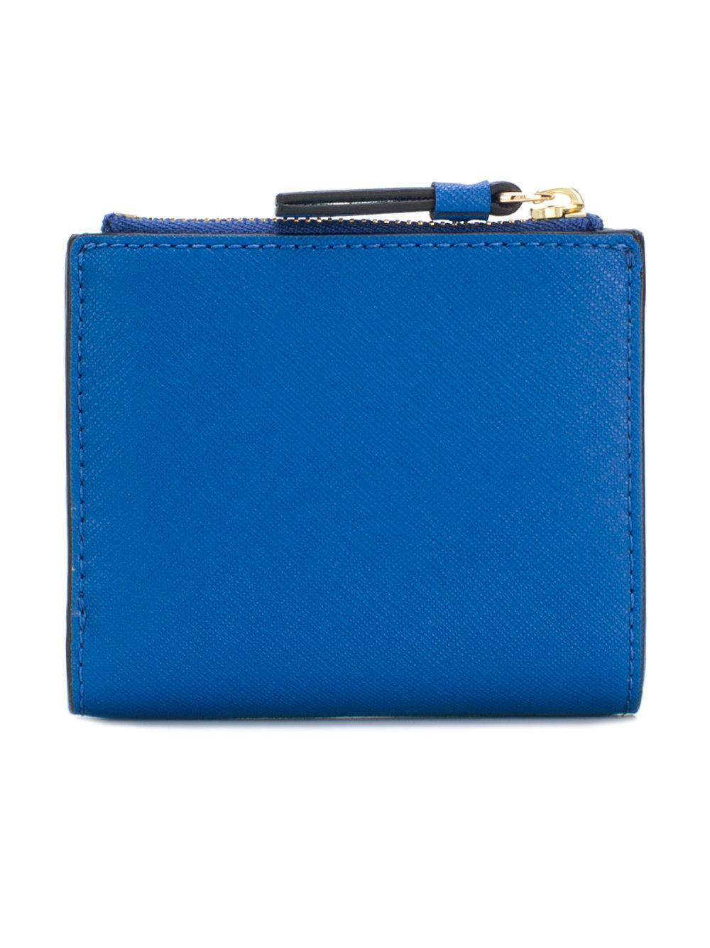 18e31911bbdfe4 Lyst - Portefeuille à plaque logo Tory Burch en coloris Bleu