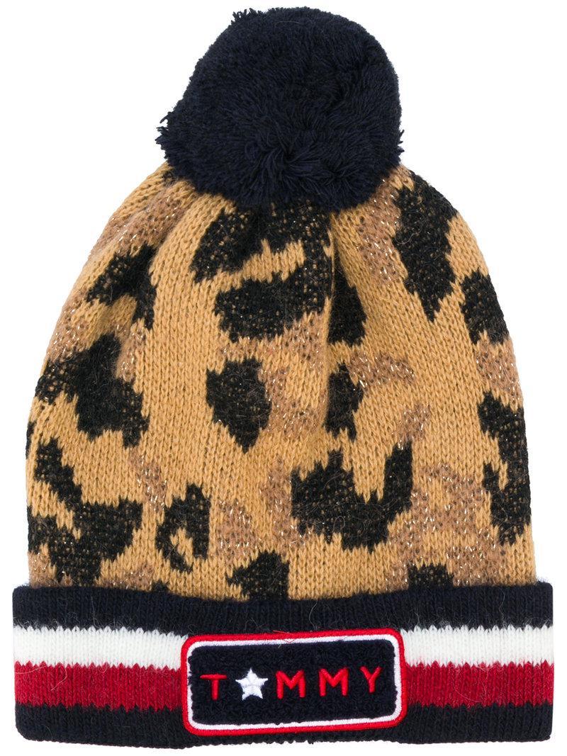 ebaa3415bca Tommy Hilfiger Logo Stripe Leopard Beanie Hat - Lyst