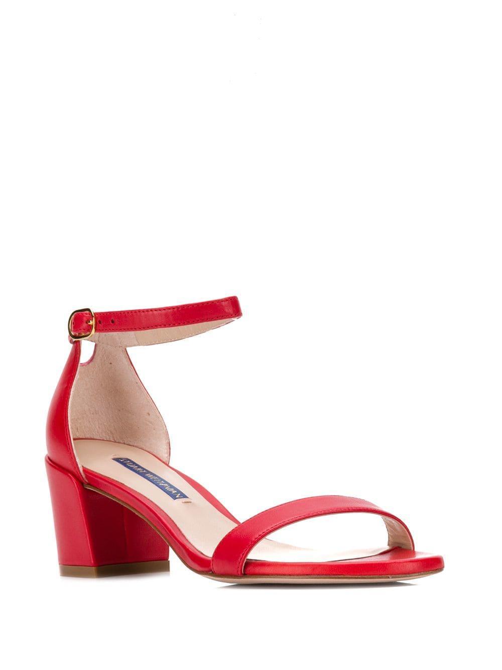 02cdef4f042 Stuart Weitzman - Red Simple Block Heel Sandals - Lyst. View fullscreen
