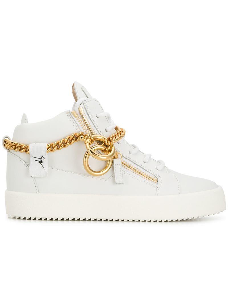579a9876a7a55 Lyst - Giuseppe Zanotti Chain Hi-top Sneakers in White
