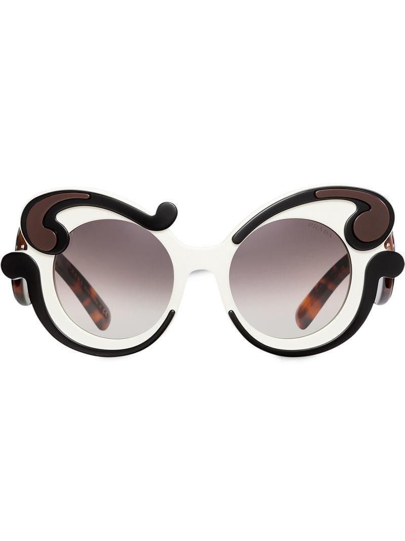 0ddf6c5fae7cf Prada Baroque-style Sunglasses in White - Lyst