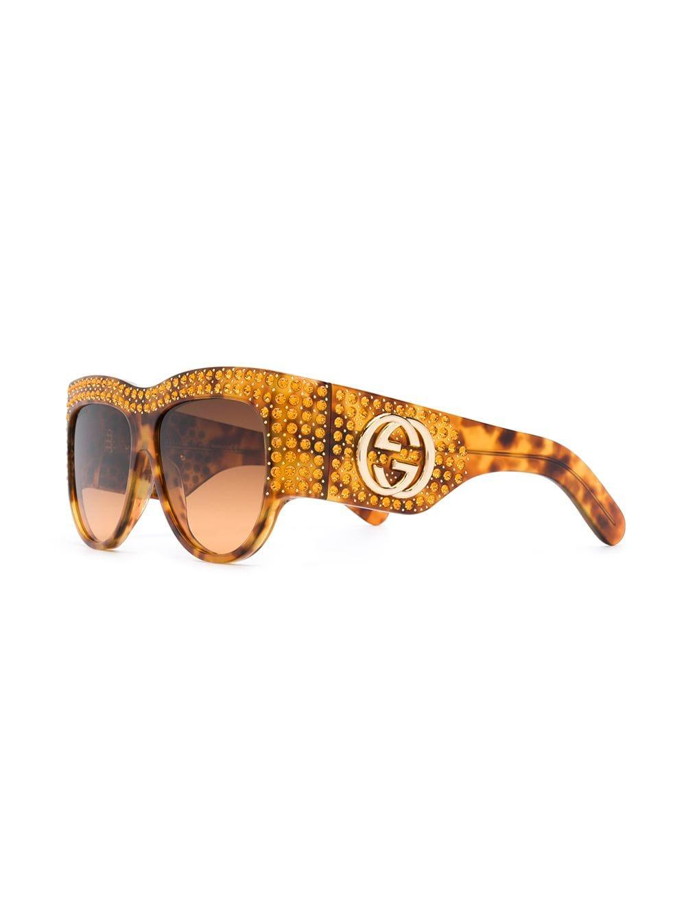 29d73cc3618 Gucci Gem Studded Sunglasses in Brown - Save 23% - Lyst