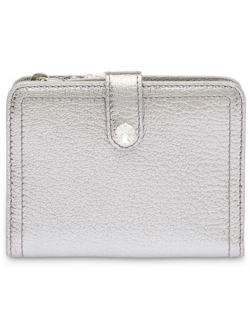 c6a0978441ed Miu Miu Madras Leather Wallet in Metallic - Lyst