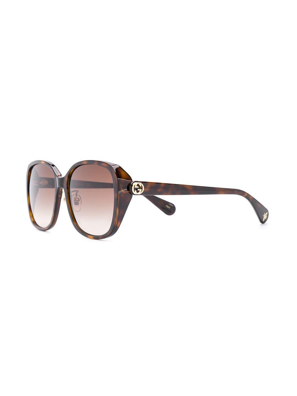 2e950f11c7a Gucci Square Sunglasses in Brown - Lyst