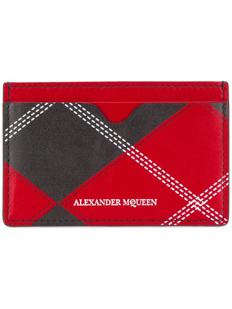 Lyst - Porte-cartes à imprimé tartan Alexander McQueen pour homme en ... b954e5e9a7c