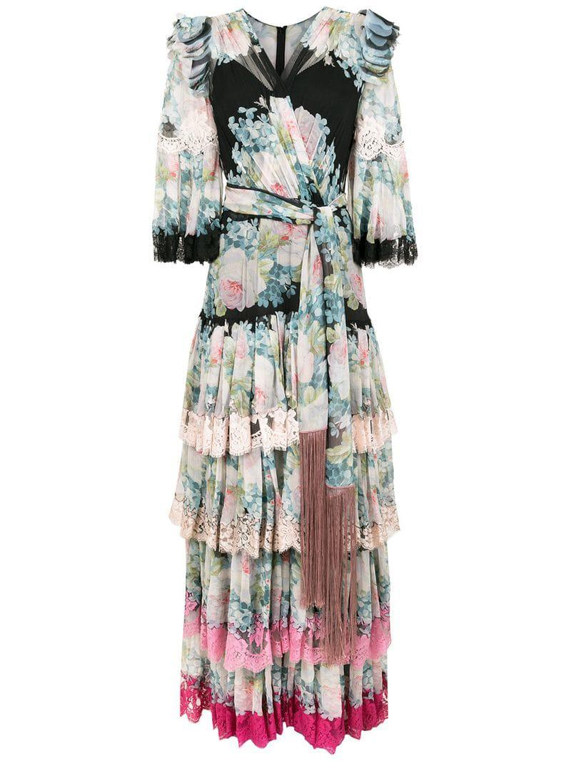 a8b71a8e93122 Lyst - Dolce   Gabbana Floral Print Ruffle Dress in Green