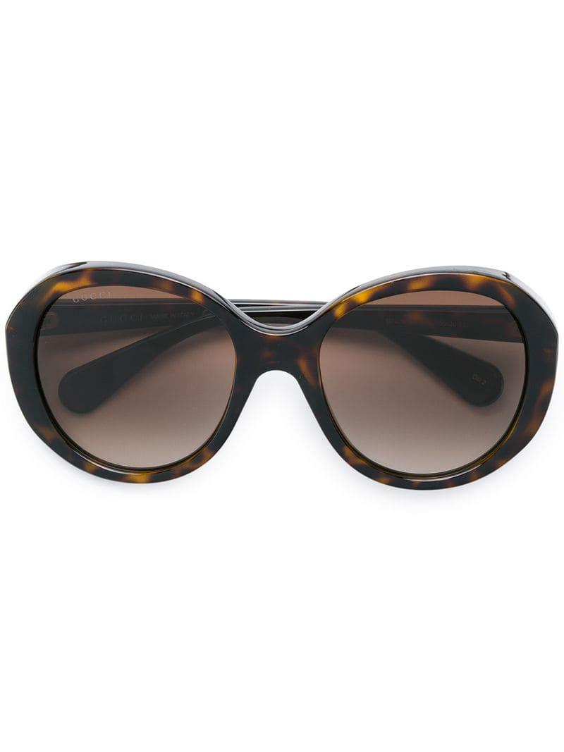 c4ba54f66fd Gucci Round Tinted Sunglasses in Brown - Lyst