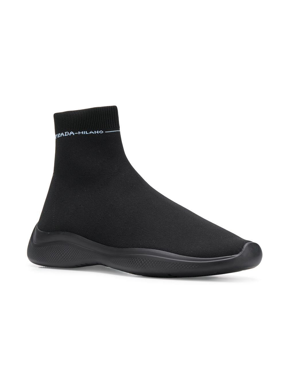 c1e83a7d2a1e Prada Sock Shaped Sneakers in Black for Men - Lyst