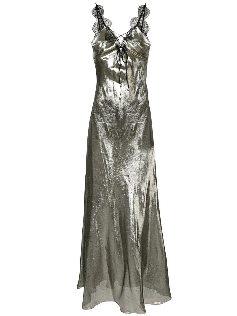 28457c4145 Maria Lucia Hohan Lace-up Lurex Dress in Metallic - Lyst