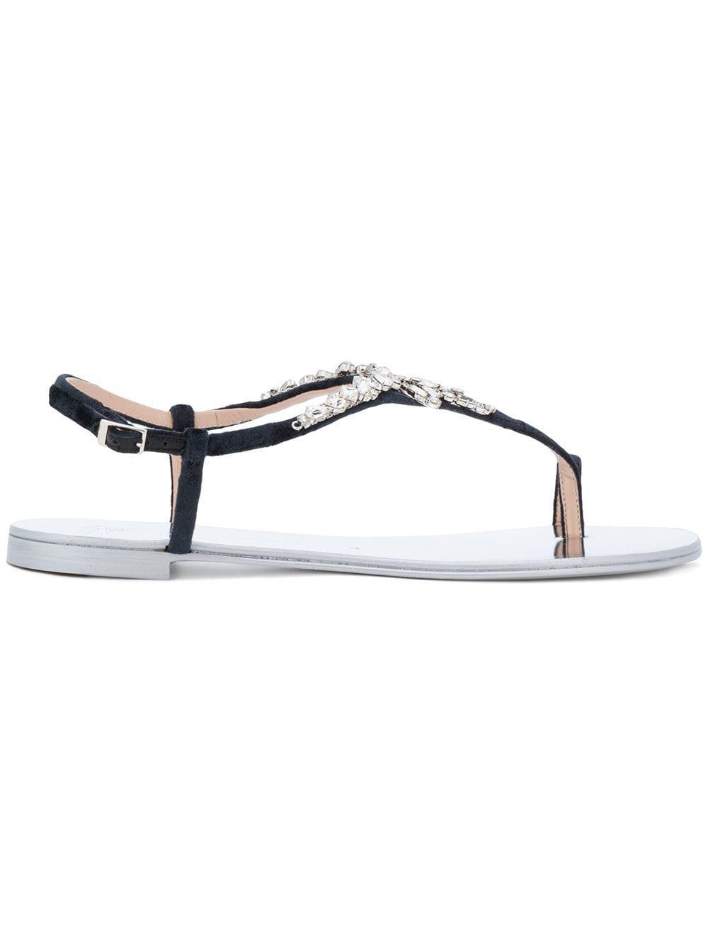 cad2c6a82127 Giuseppe Zanotti Crystal Embellished Flat Sandals in Black - Lyst