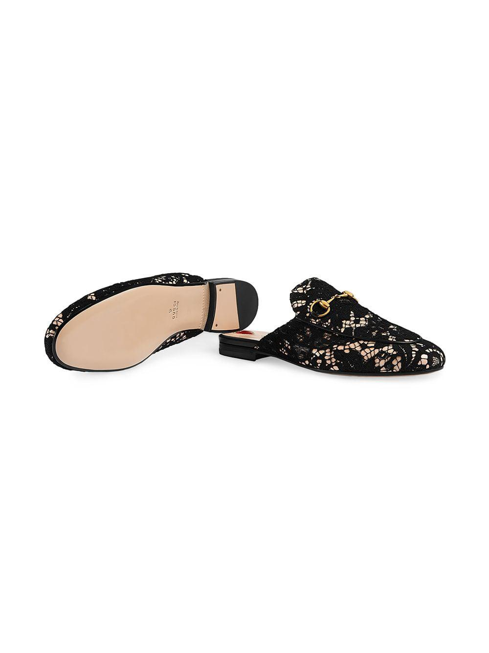 498f742808e Lyst - Gucci Black Princetown Lace Mules in Black - Save 31%