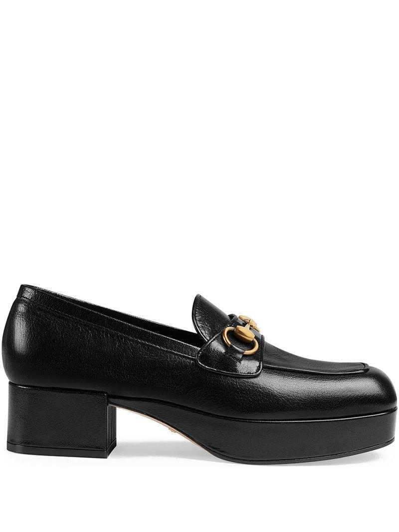 9bace6a3e36 Lyst - Gucci Leather Platform Loafer With Horsebit in Black