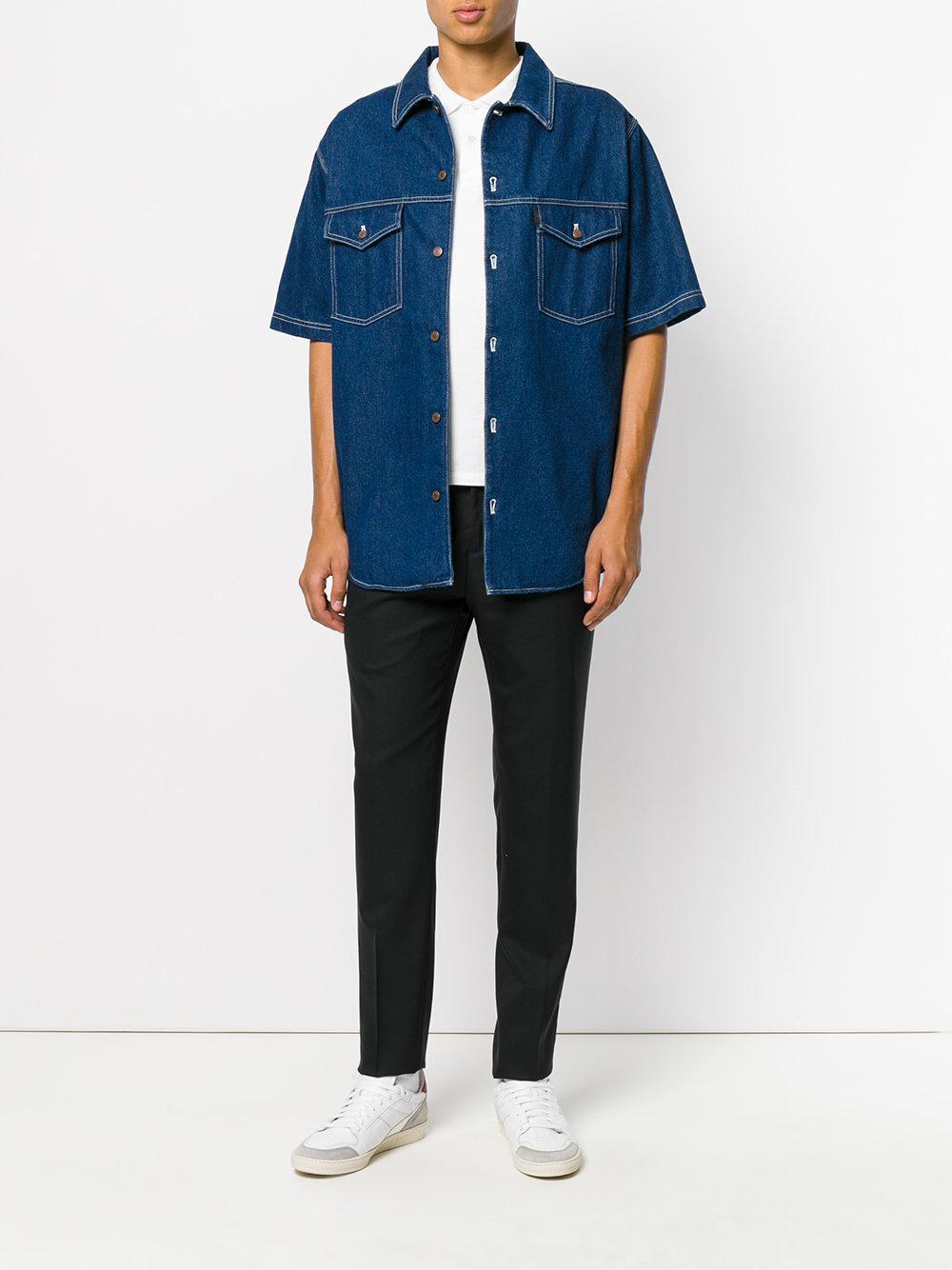 30761a9d83e Lyst - AMI Oversized Denim Shirt in Blue for Men