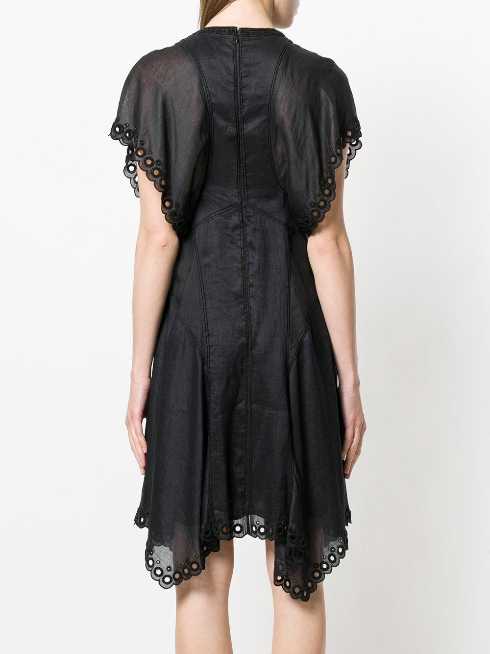 Lyst - Robe évasée à broderies anglaises Isabel Marant en coloris Noir 60eb7bbb25ac