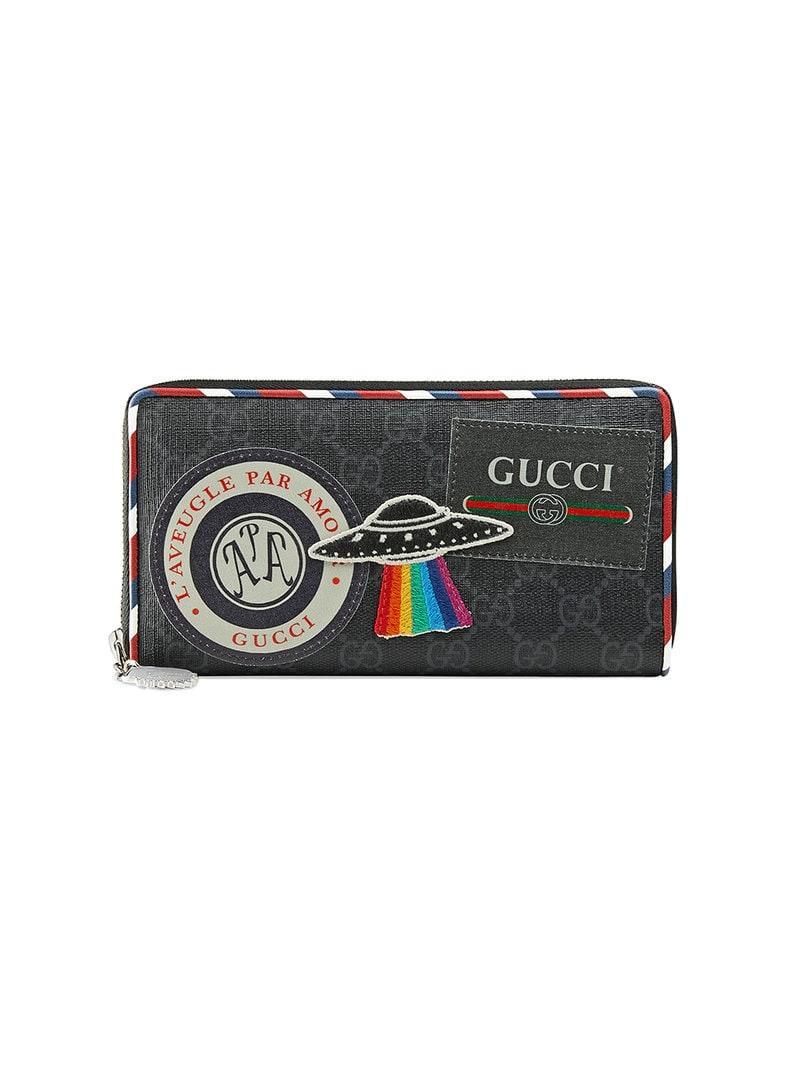 4a992114a60f Lyst - Gucci Night Courrier GG Supreme Zip Around Wallet in Black ...