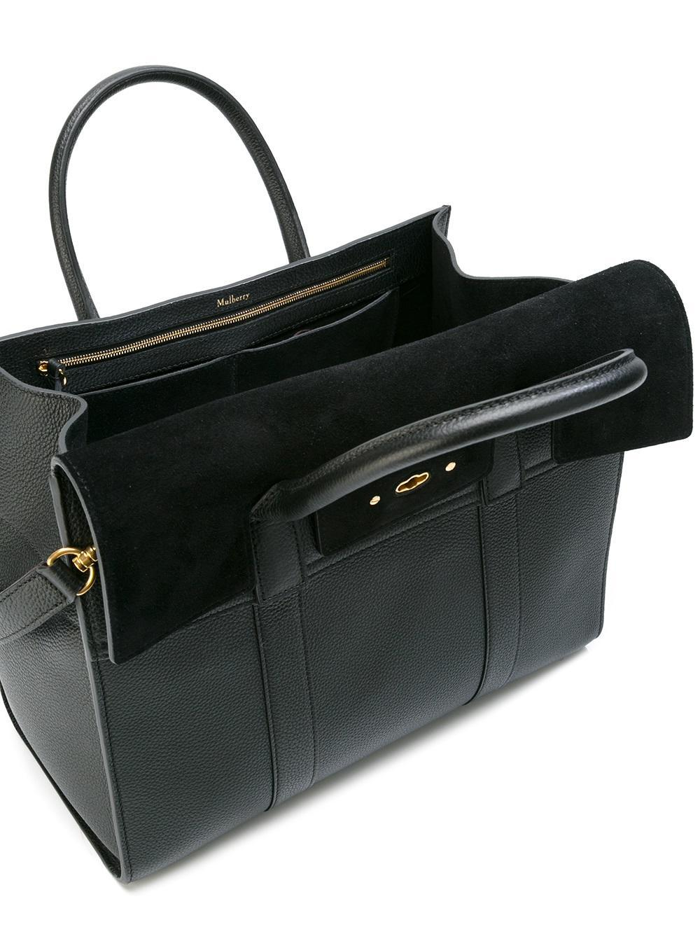 83a64a34beb3 Lyst - Mulberry Fold-over Closure Tote in Black