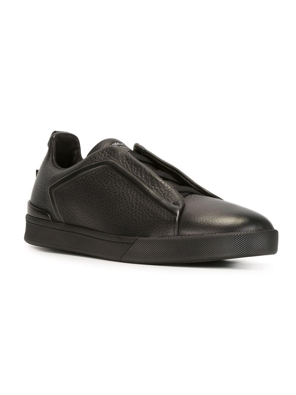 Triple Stitch Full-grain Leather Slip-on Sneakers - BlackErmenegildo Zegna Z7Grnz0L