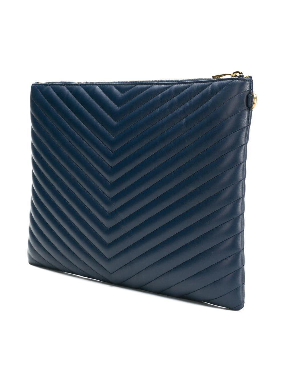499d79c1f479 Lyst - Большой Клатч Saint Laurent, цвет: Синий