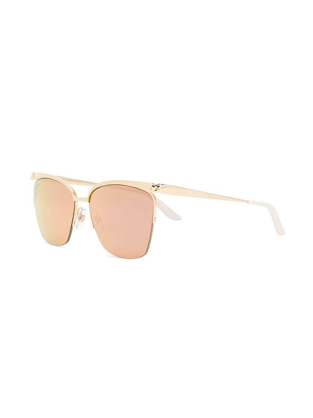 ebd0d420469 Cartier - Metallic Panthère De Sunglasses - Lyst. View fullscreen