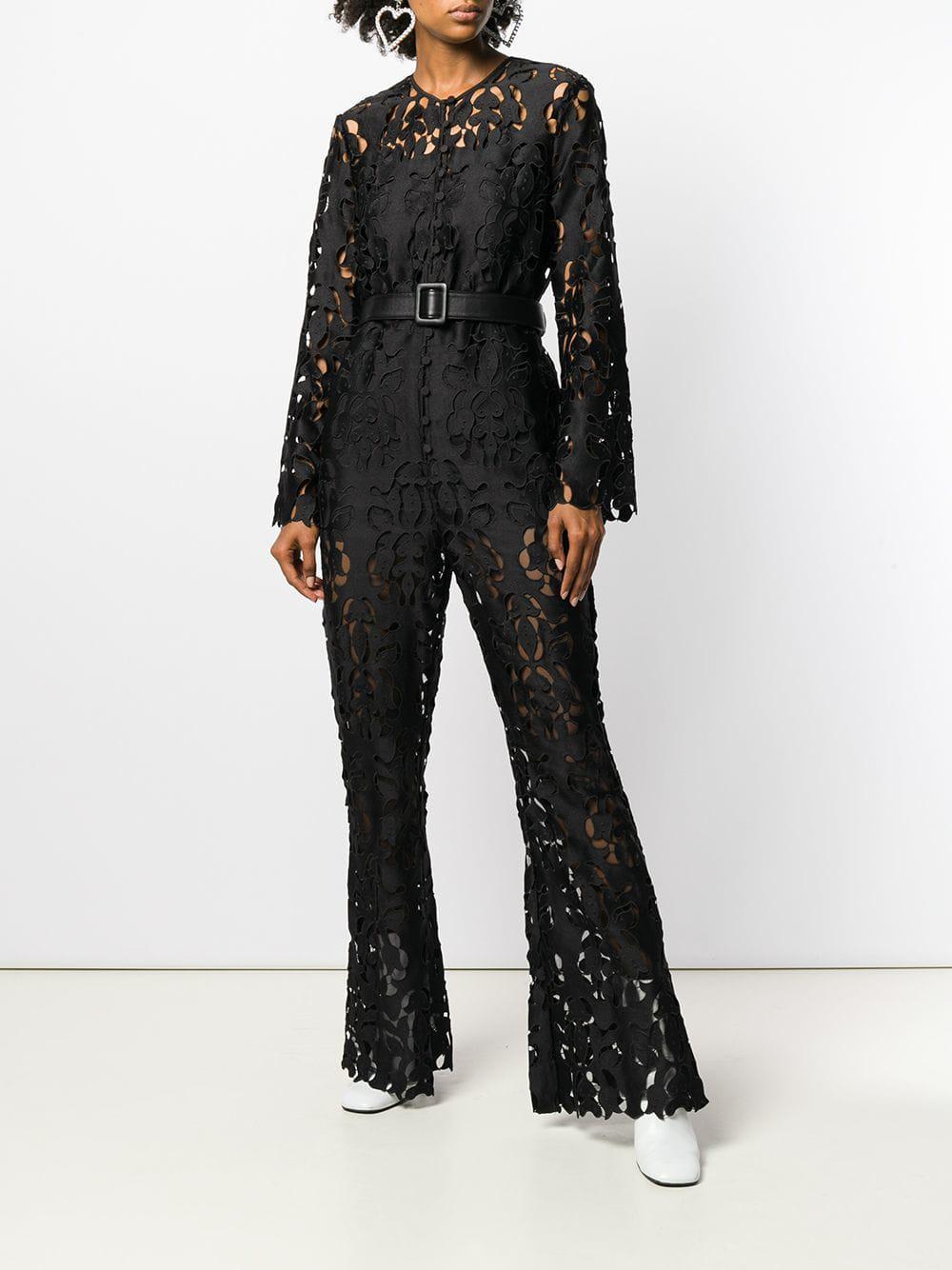 8eb8e4a2bbf Self-Portrait Floral Cut-out Jumpsuit in Black - Save 36% - Lyst