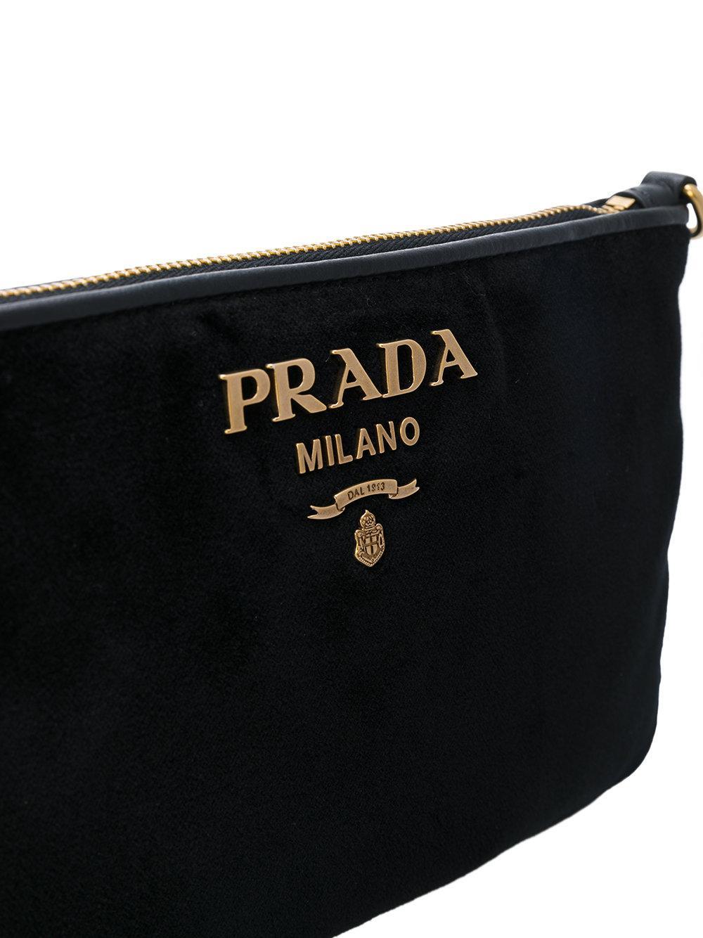e5775f3ffb1e ... inexpensive lyst prada velvet clutch bag in black 2f9a5 10b3a