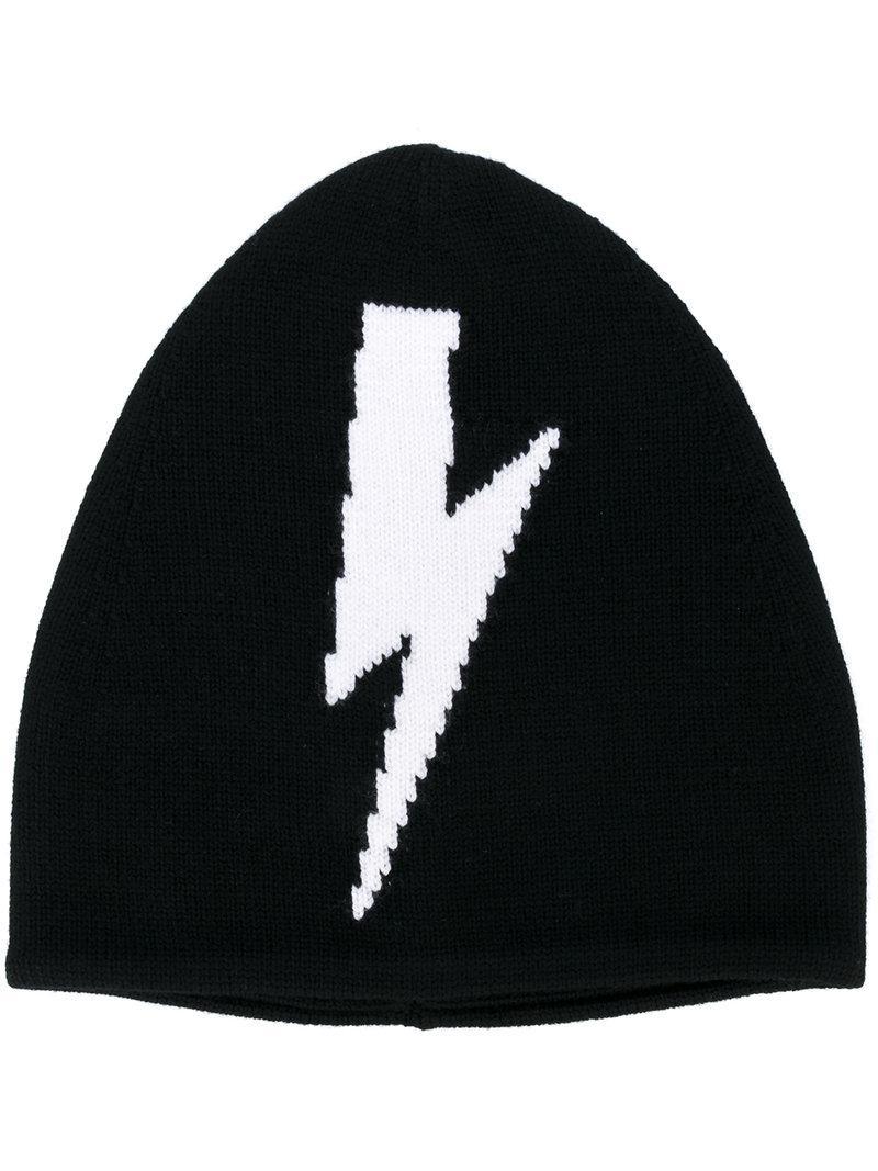 Lyst - Neil Barrett Lightning Bolt Beanie Hat in Black for Men c0b5d6fe2e3b