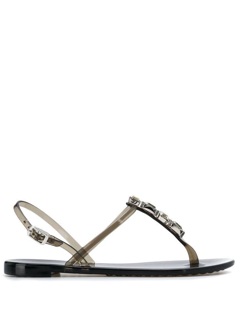 b4b3fd2801d1 Lyst - Casadei Jelly Embellished Sandals in Black