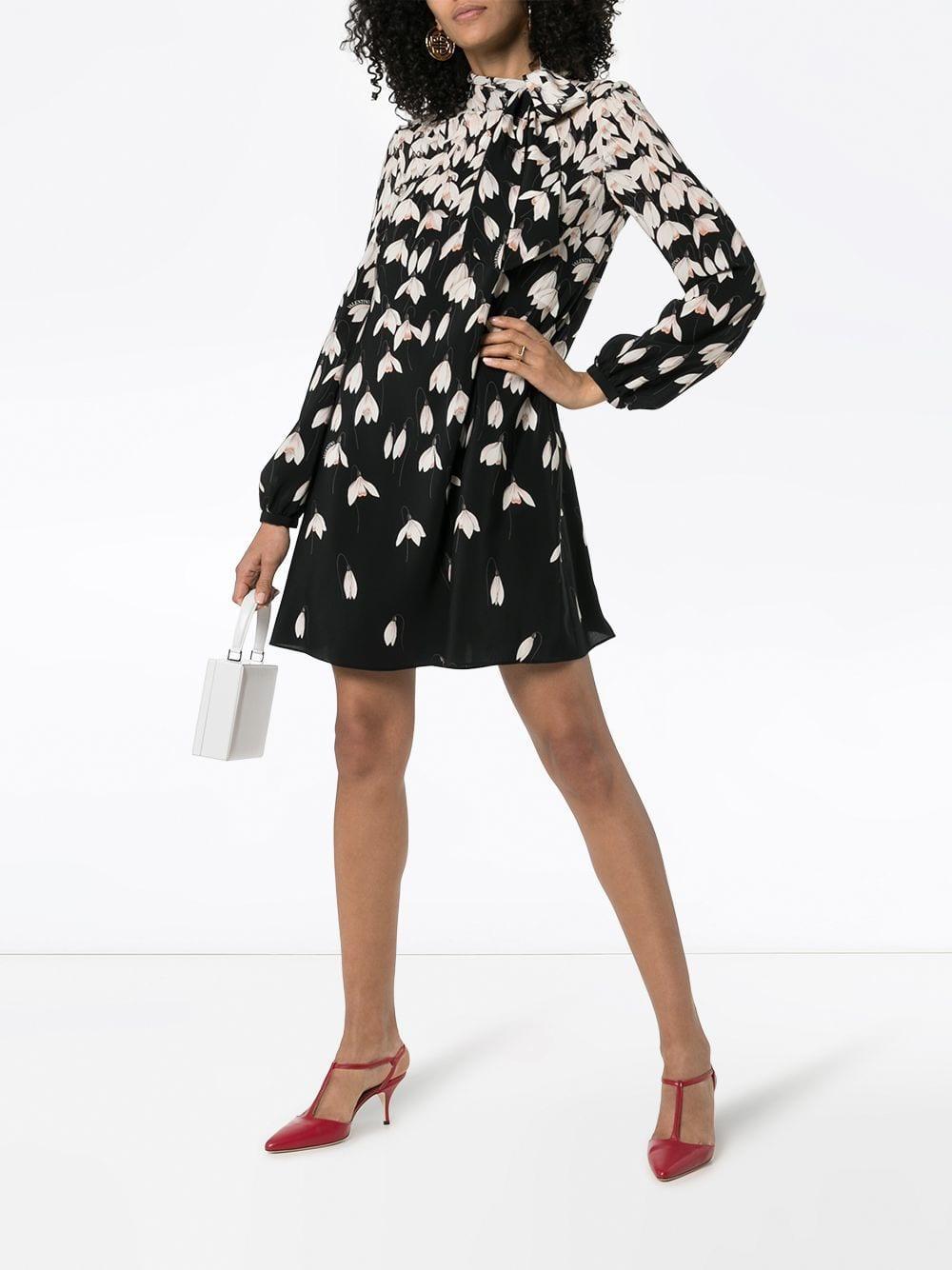 91a455b602c Lyst - Valentino Women s Floral Silk Tunic Dress - Black Multi in Black