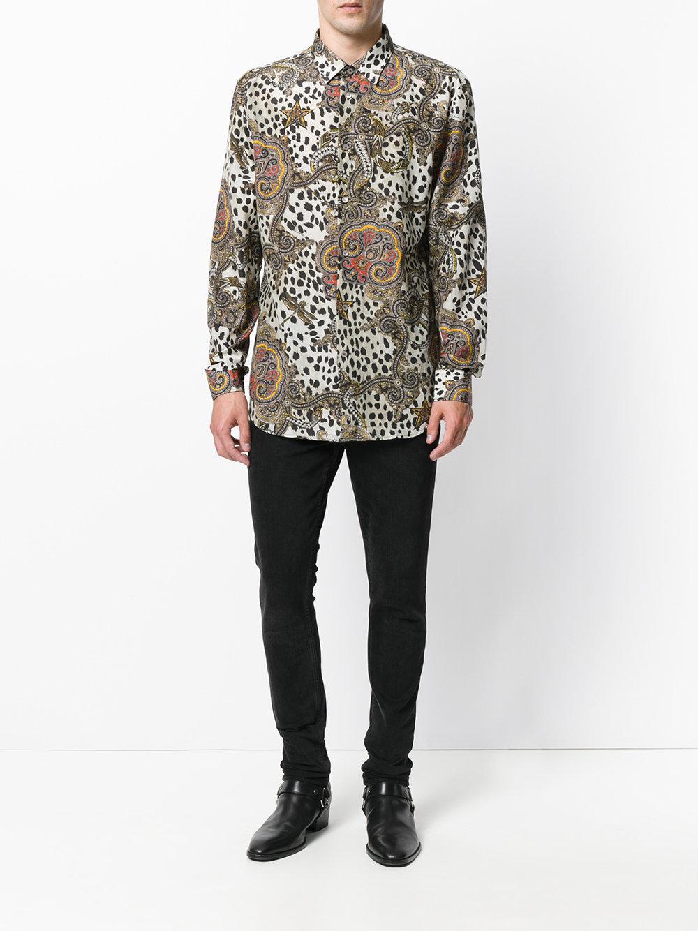 251d107c269240 Lyst - Roberto Cavalli Leopard Paisley Print Shirt in White for Men