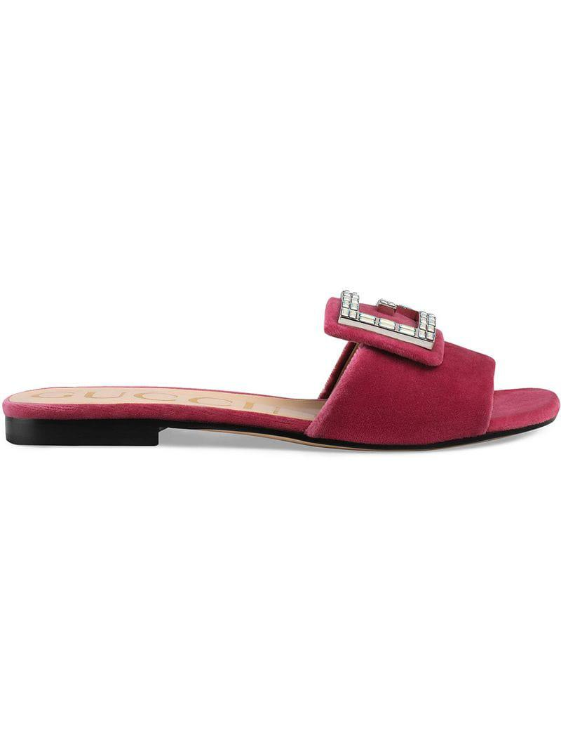 b3dedd5a2 Lyst - Gucci Velvet Slide With Crystal G in Pink