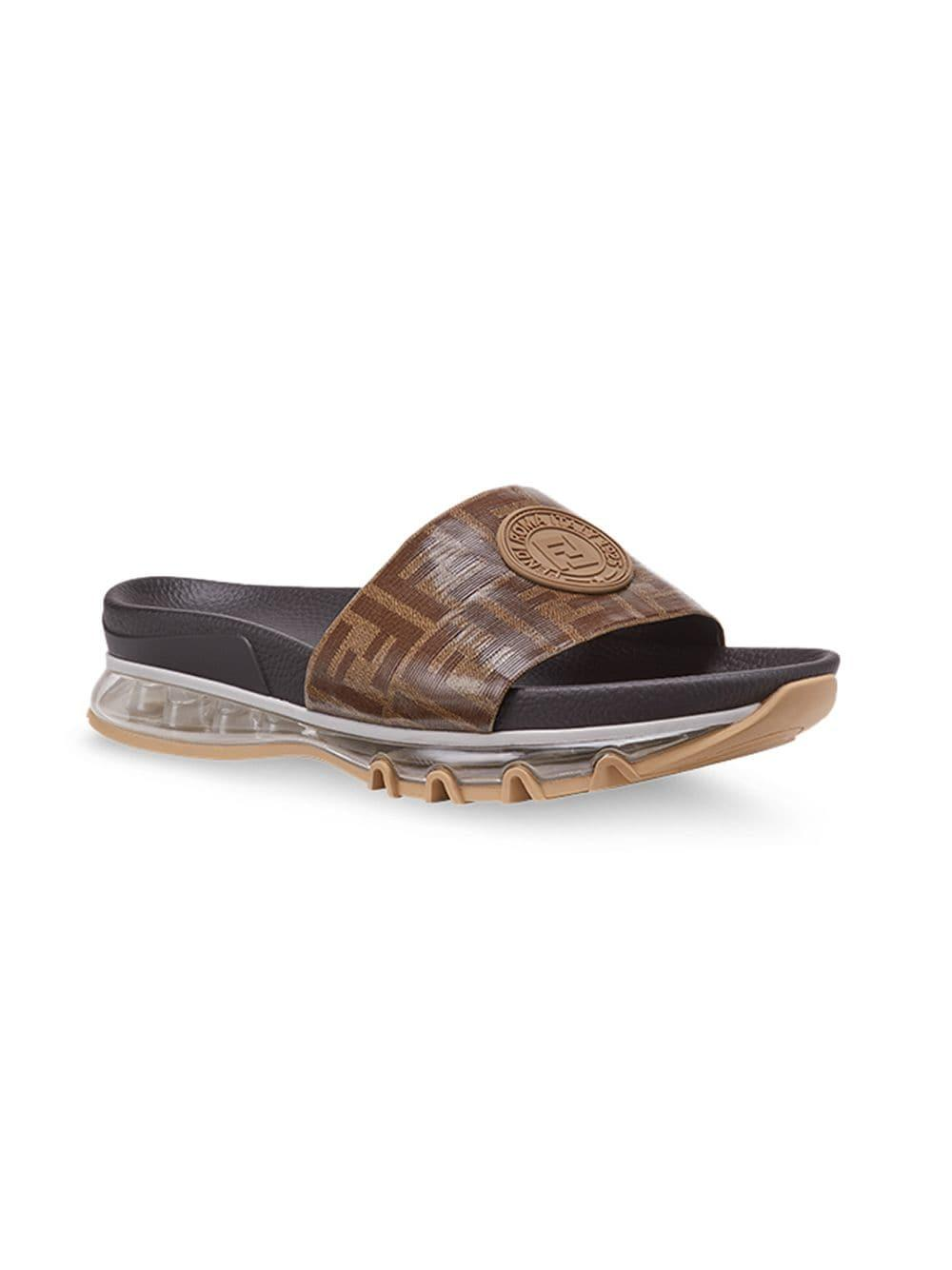 6b9e7eaf9 Lyst - Fendi Logo-patch Sandals in Brown for Men