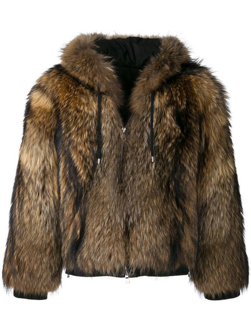 62cd41c05ddf Balmain Hooded Fur Jacket for Men - Lyst