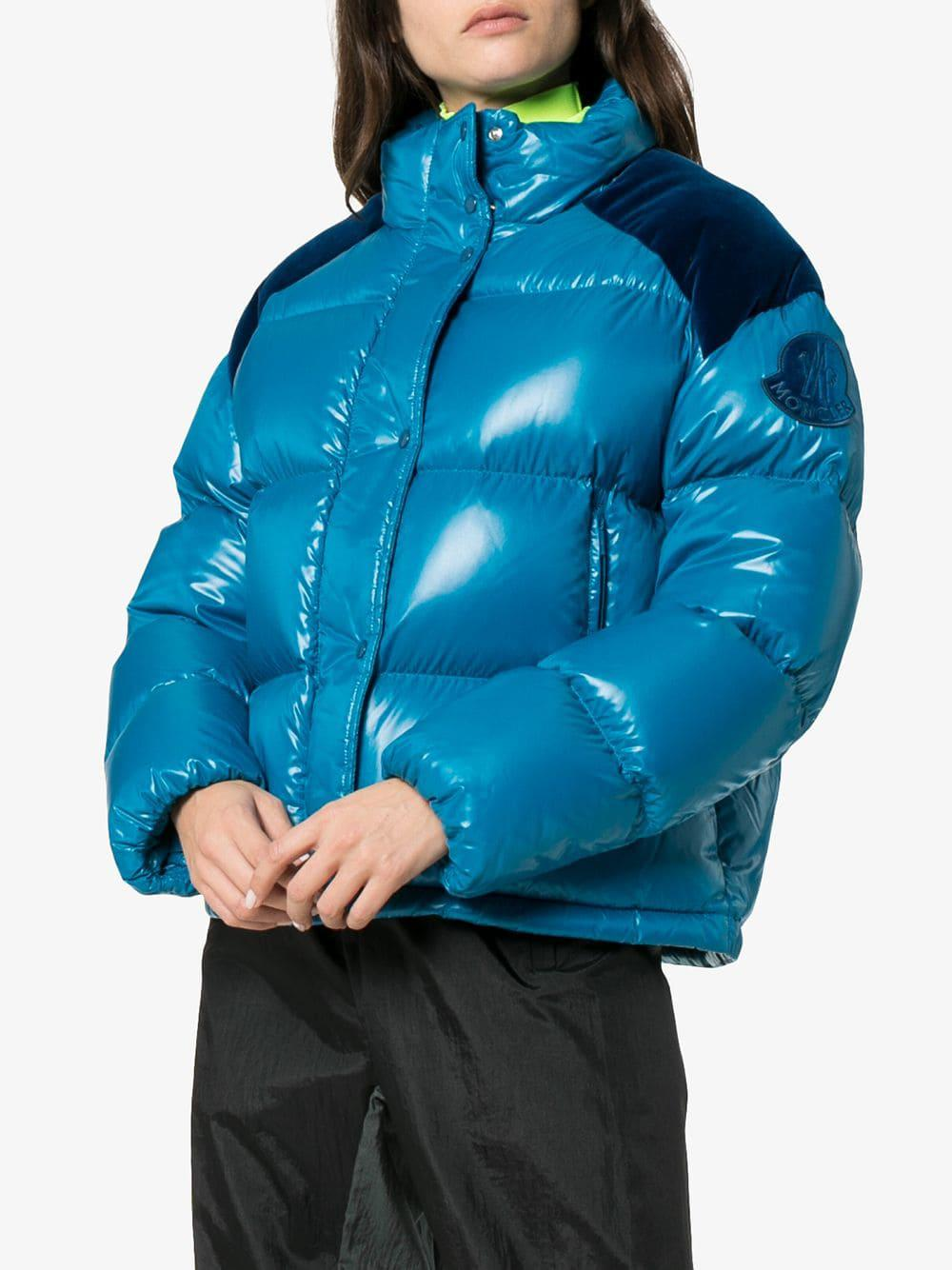 12ed22d85b0 Moncler Chouette Feather Down And Velvet Puffer Jacket in Blue ...