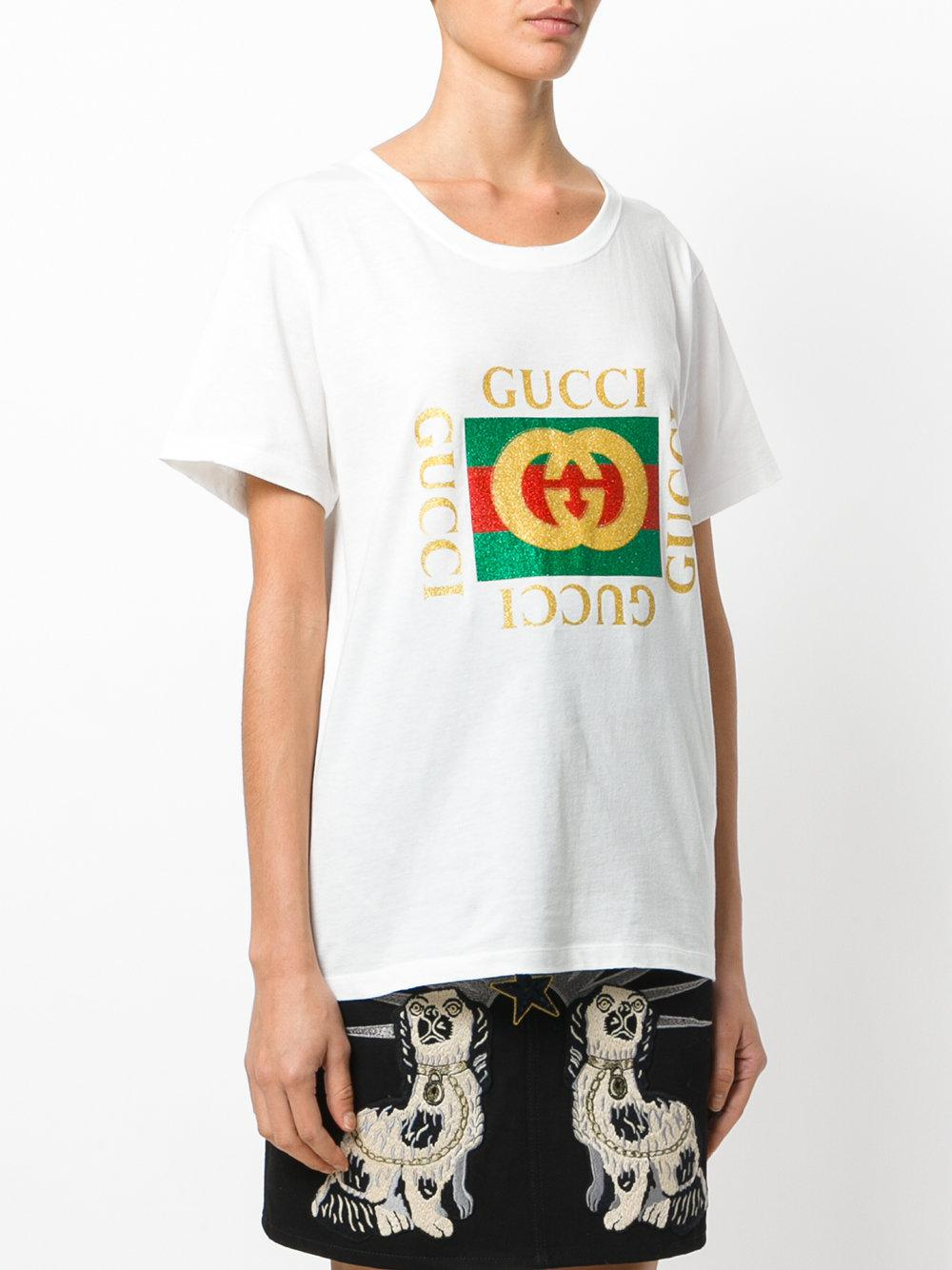 Gucci Logo Printed T-shirt in White - Lyst 150440eefd9c